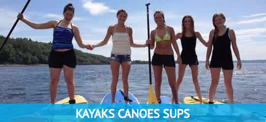 5 Girls having fun on stand up paddle boards. Bass Lake Boat Rentals