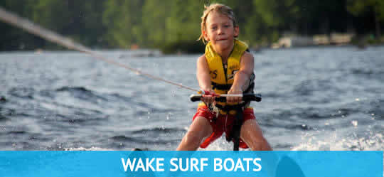 Young Boy Waterskiing Bass Lake Boat Rentals