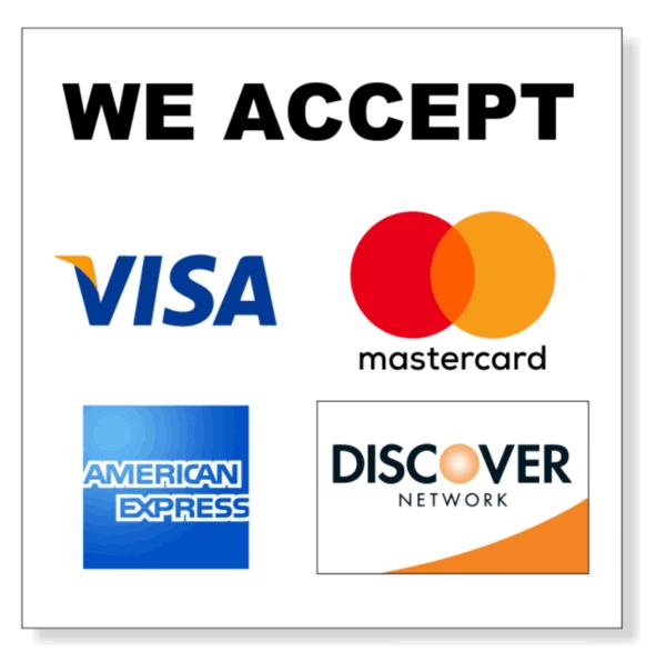 We Accept Visa Mastercard American Express Discover Logo Emblem Bass Lake Boat Rentals Pines Resort Marina Image 001