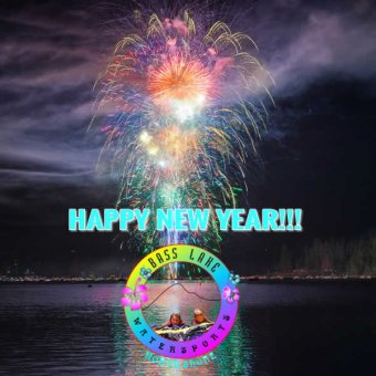 Happy New Year Image of Fireworks over Bass Lake California from Bass Lake Watersports and Darv Atkeson